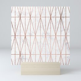 Modern geometric triangles faux rose gold pattern on white marble Mini Art Print