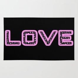 [Glittered Outline Effect Variant] Love's Simple [Black Background] Rug