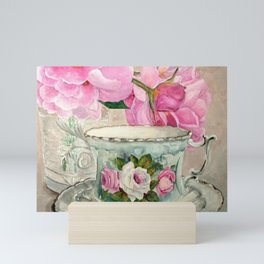 Hand Painted China Tea Cup and Roses Mini Art Print