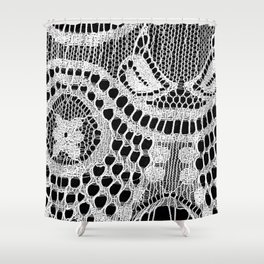 White Lace Pattern Shower Curtain