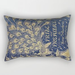 Pride and Prejudice by Jane Austen Vintage Peacock Book Cover Rectangular Pillow