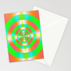 Orange Pink Green and Turquoise Rings Stationery Cards