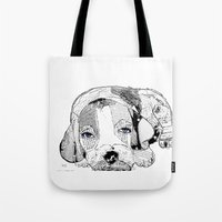 beagle Tote Bags featuring Beagle by bri.buckley