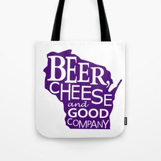 Purple and White Beer, Cheese and Good Company Wisconsin Graphic Tote Bag