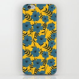 Blue Flowers with Banana Leaves with Yellow iPhone Skin