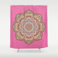 islam Shower Curtains featuring Pink Mandala by Mantra Mandala