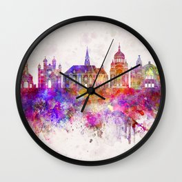 Cluj-Napoca skyline in watercolor background Wall Clock