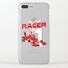 This Little Racer Is 1 Year Old 1st Birhtday Gift Clear iPhone Case