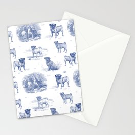 Classic Blue PUG DOGS Stationery Cards