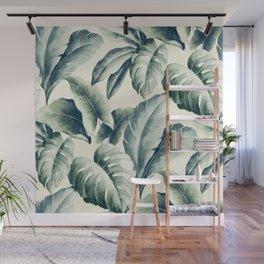 Green palm leaf pattern Wall Mural