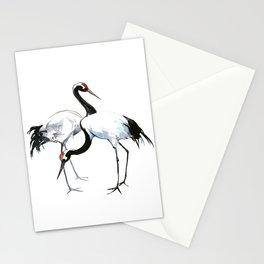 Japanese Cranes, Asian ink Crane bird artwork design Stationery Cards