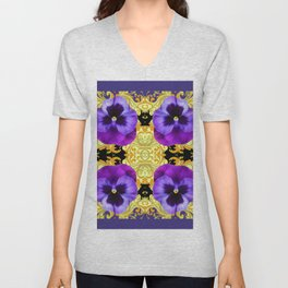 PURPLE PANSIES ON BLACK & GOLD BROCADE GARDEN Unisex V-Neck