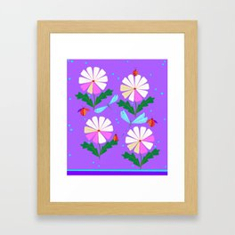 A Spring Rain on Daisies with Lady Bugs and Dragonflies Framed Art Print