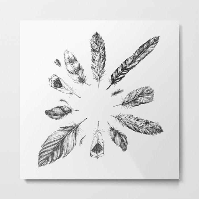 circulo de plumas Metal Print