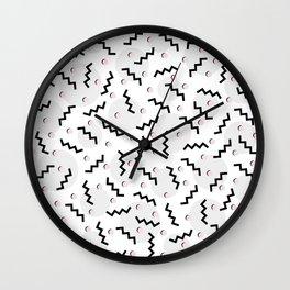 Old School Retro Funky Memphis 80's Pattern Black White Grey Pink Wall Clock