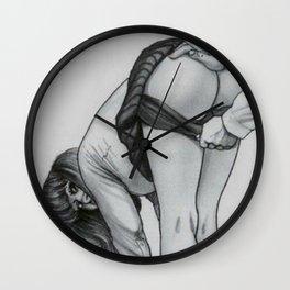 Schoolgirl,Spanking illustration, Fetish drawing, discipline Wall Clock