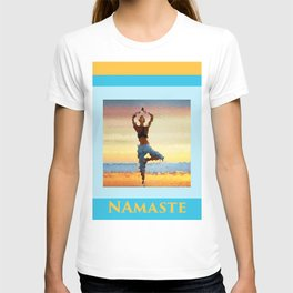 Yoga Pose. Silhouette of a woman on sunset background of blue sky T-shirt