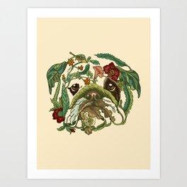 Botanical English Bulldog Art Print