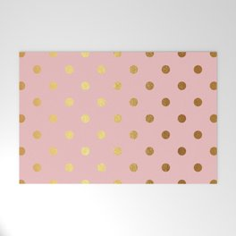 Gold polka dots on rose gold background - Luxury pink pattern Welcome Mat