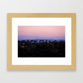 Sunset over the Pyrenees (Pyrénées) from Aragon, France Framed Art Print