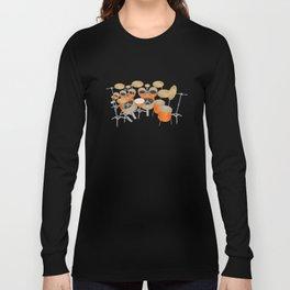 Orange Drum Kit Long Sleeve T-shirt
