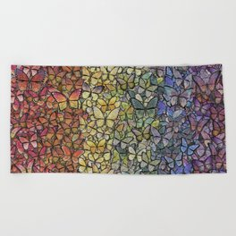 rainbow of butterflies aflutter Beach Towel
