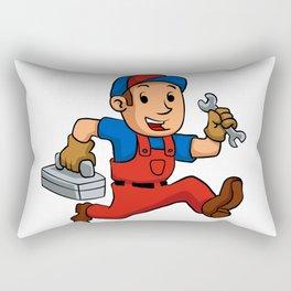 handyman Running With A Toolbox Rectangular Pillow
