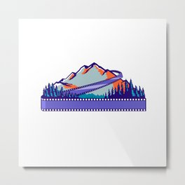 Flowing Film Strip Mountain and Trees WPA Retro Metal Print