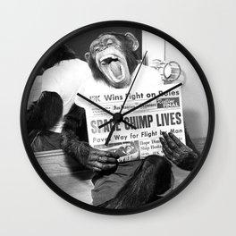 Space Chimp Lives - NASA Moon Flight black and white photograph Wall Clock
