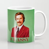 classy Mugs featuring CLASSY by John Medbury (LAZY J Studios)