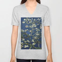 Almond Blossom - Vincent Van Gogh (dark blue) Unisex V-Neck