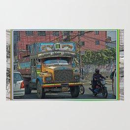 STREET SCENE IN KATHMANDU TRUCK AND MOTOR BIKE Rug