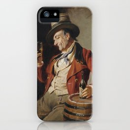 Old Man Drinking Beer Painting iPhone Case