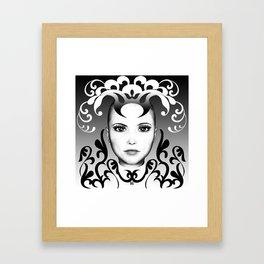 Black and white ornamental joker Framed Art Print