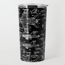 F-18 Blueprints // Black Travel Mug