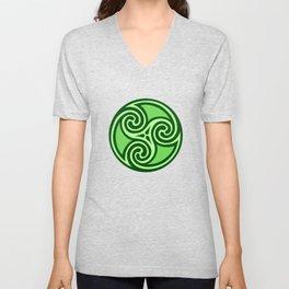 Celtic Triskele Ornament,Lime & Emerald Green Unisex V-Neck