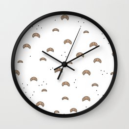 Bonjour good morning breakfast croissant love print Wall Clock