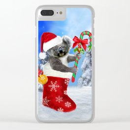 Baby Koala Christmas Cheer Clear iPhone Case