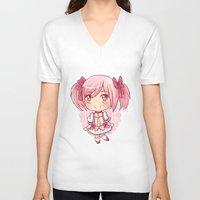 madoka V-neck T-shirts featuring Madoka Chibi by Porzellan