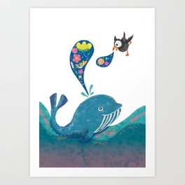 A whale and a puffin Art Print