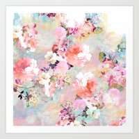 retro Art Prints featuring Love of a Flower by Girly Trend