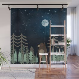 the moon balloon Wall Mural