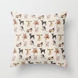 Vintage Goat All-Over Fabric Print Throw Pillow