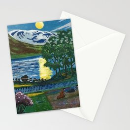 Planting the Spring Crops Lakeside under the yellow May Moon landscape painting by Nikolai Astrup Stationery Cards