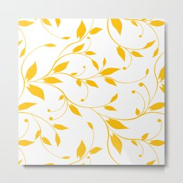 FLOWERY VINES   white yellow Metal Print
