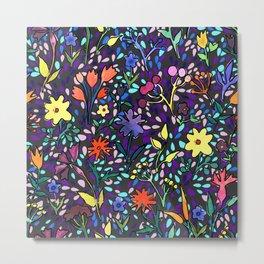 Watercolor flowers and drops Metal Print