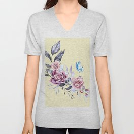 flower and butterfly Unisex V-Neck