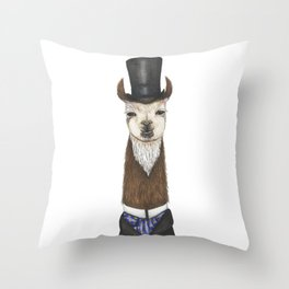 Llama gent in a top hat and duck cravat Throw Pillow