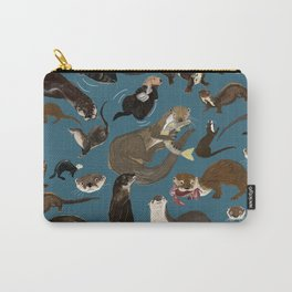 Otters of the World pattern in teal Carry-All Pouch