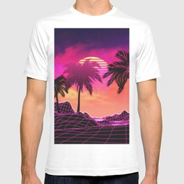 Pink vaporwave landscape with rocks and palms T-shirt